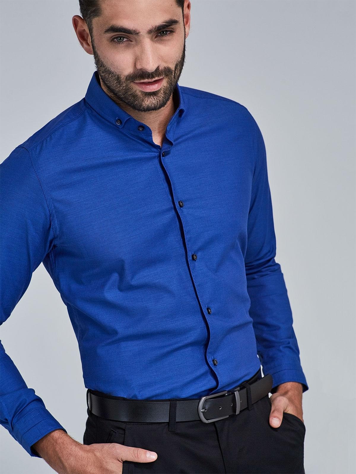 275f341161 Camisa Slim Fit Unicolor con Textura 78162 - Arturo Calle