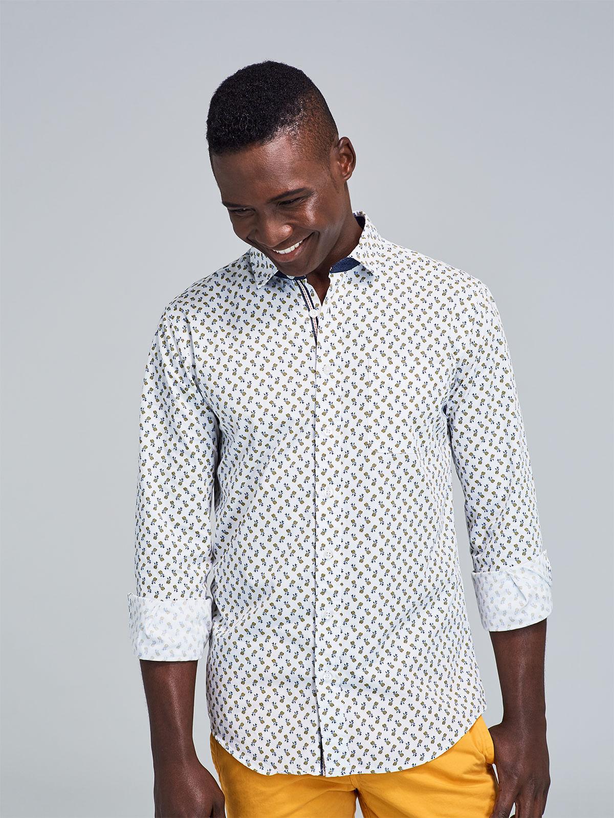 be80dc68ec68d Camisa Slim Fit Estampada Piñas 87620 - Arturo Calle