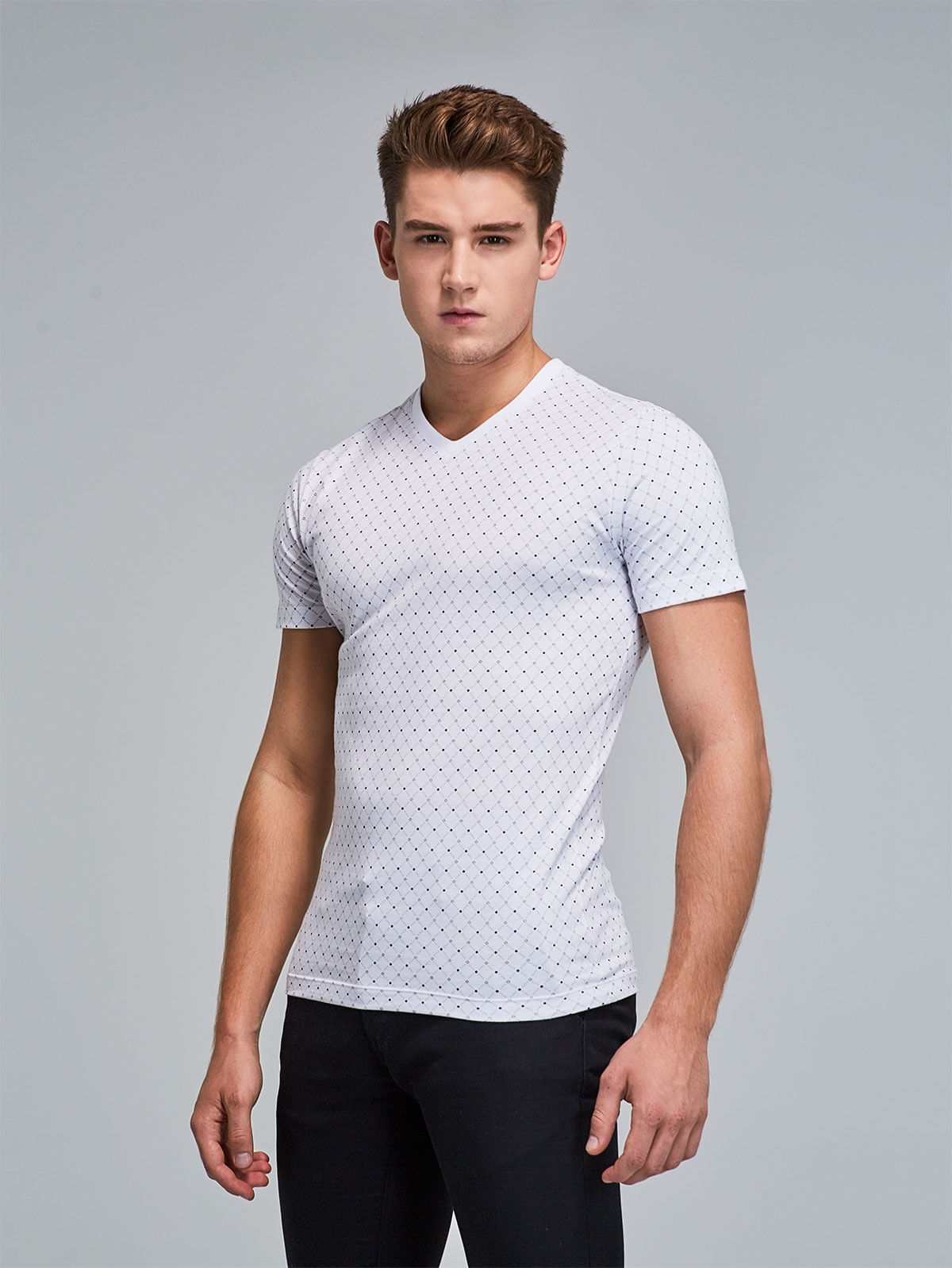 28dfda82fb Camiseta Slim Fit Estampada Figuras 78931 - Arturo Calle