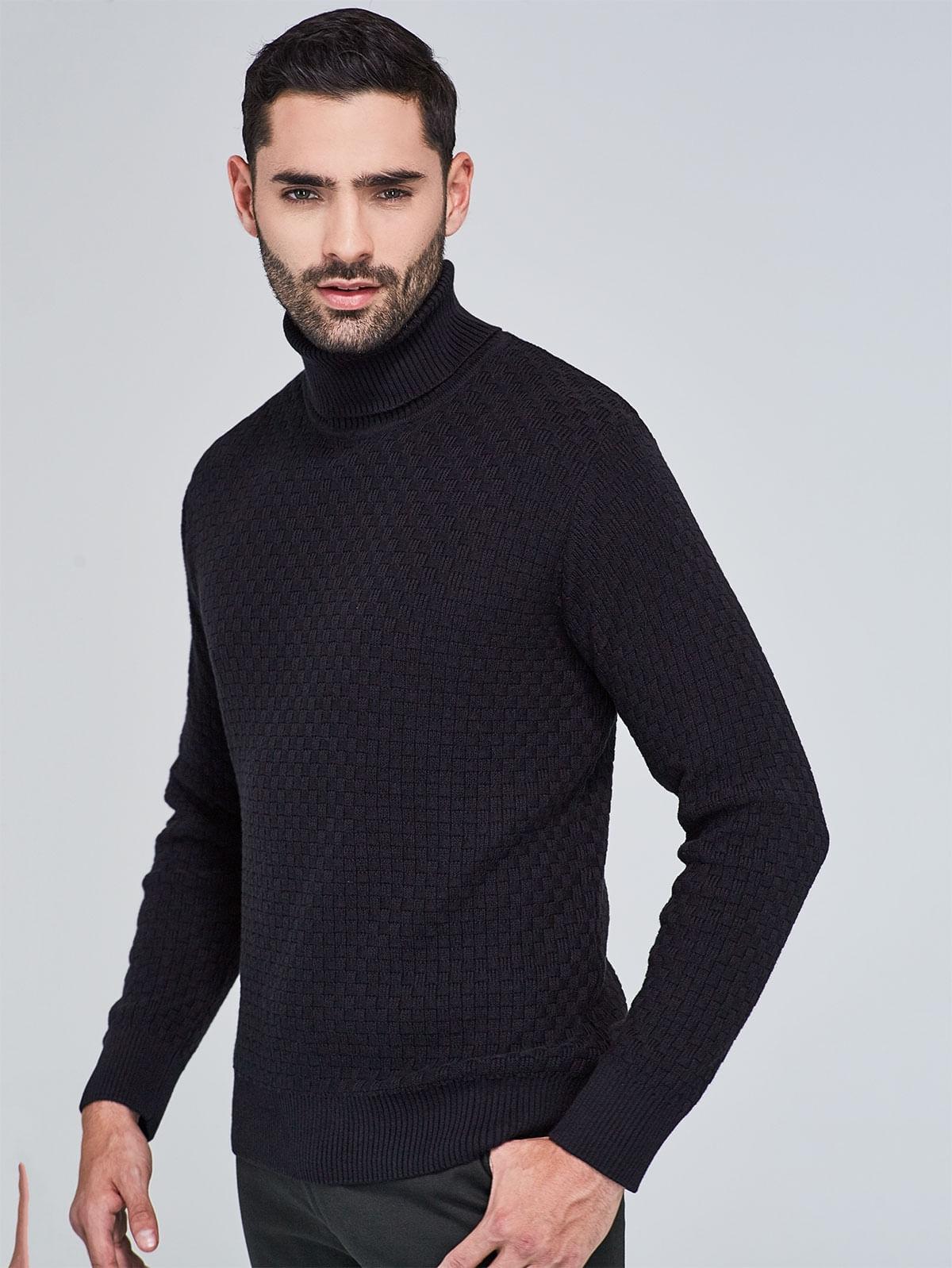 d272ca4625e6c ... Sweater Tejido de Punto Regular Fit con Textura y Cuello Tortuga 85090  ...