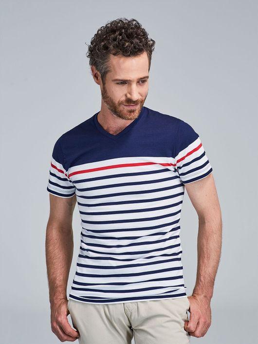 5fc4176347 Camiseta Slim Fit Rayas en Contraste 81915