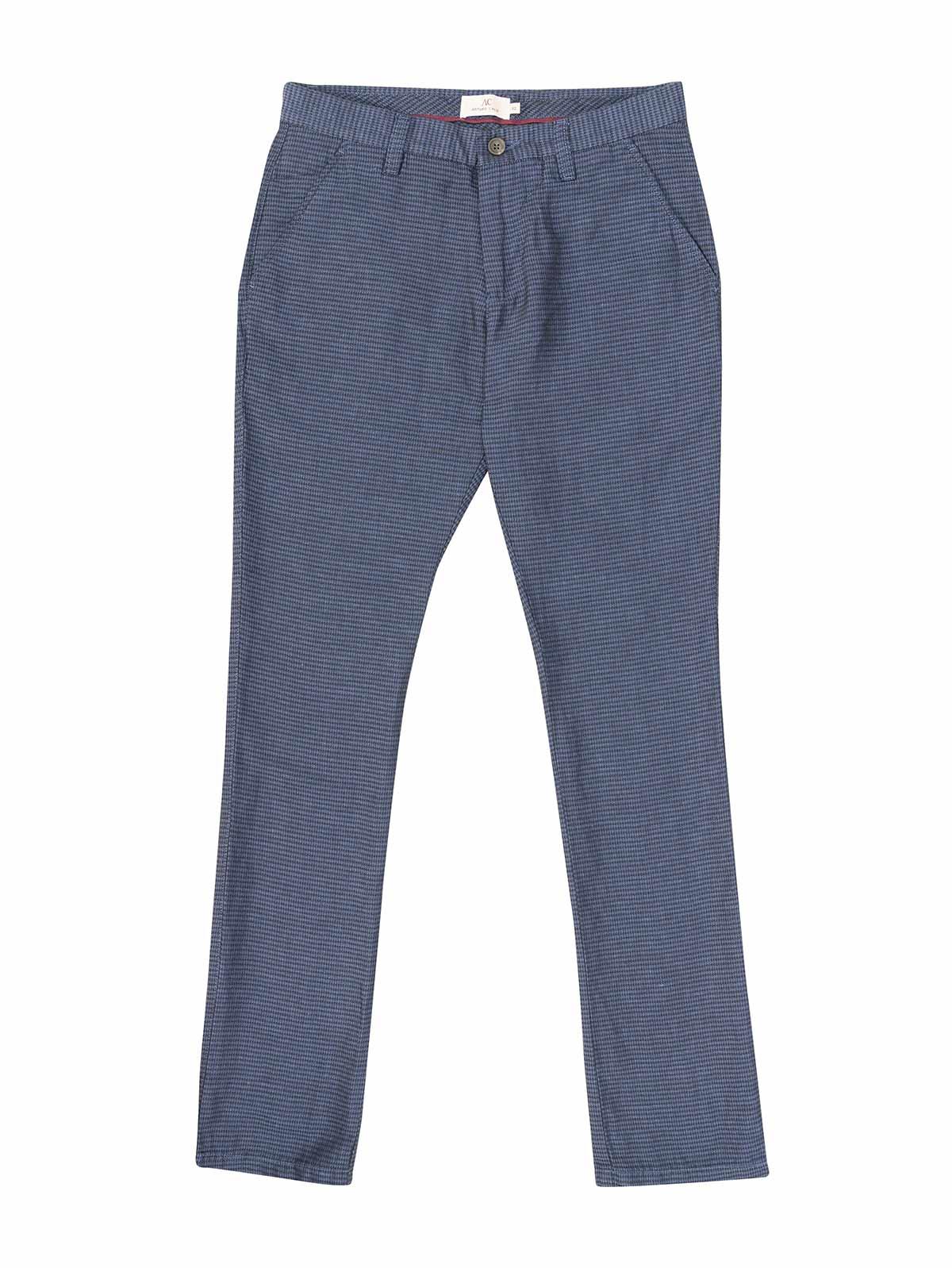 Pantalon En Mezcla Lino Algodon Azul Con Textura Para Hombre 93228 Arturo Calle